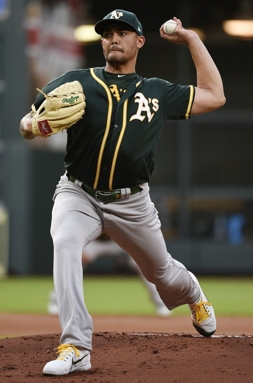 Oakland Athletics starting pitcher Sean Manaea delivers during the first inning of the team's baseball game against the Houston Astros, Friday, April ...