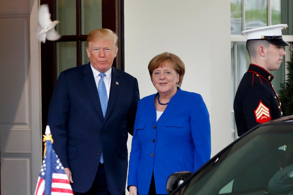 A bird flies past as President Donald Trump greets German Chancellor Angela Merkel, Friday April 27, 2018, at the White House in Washington. Donald Tr...