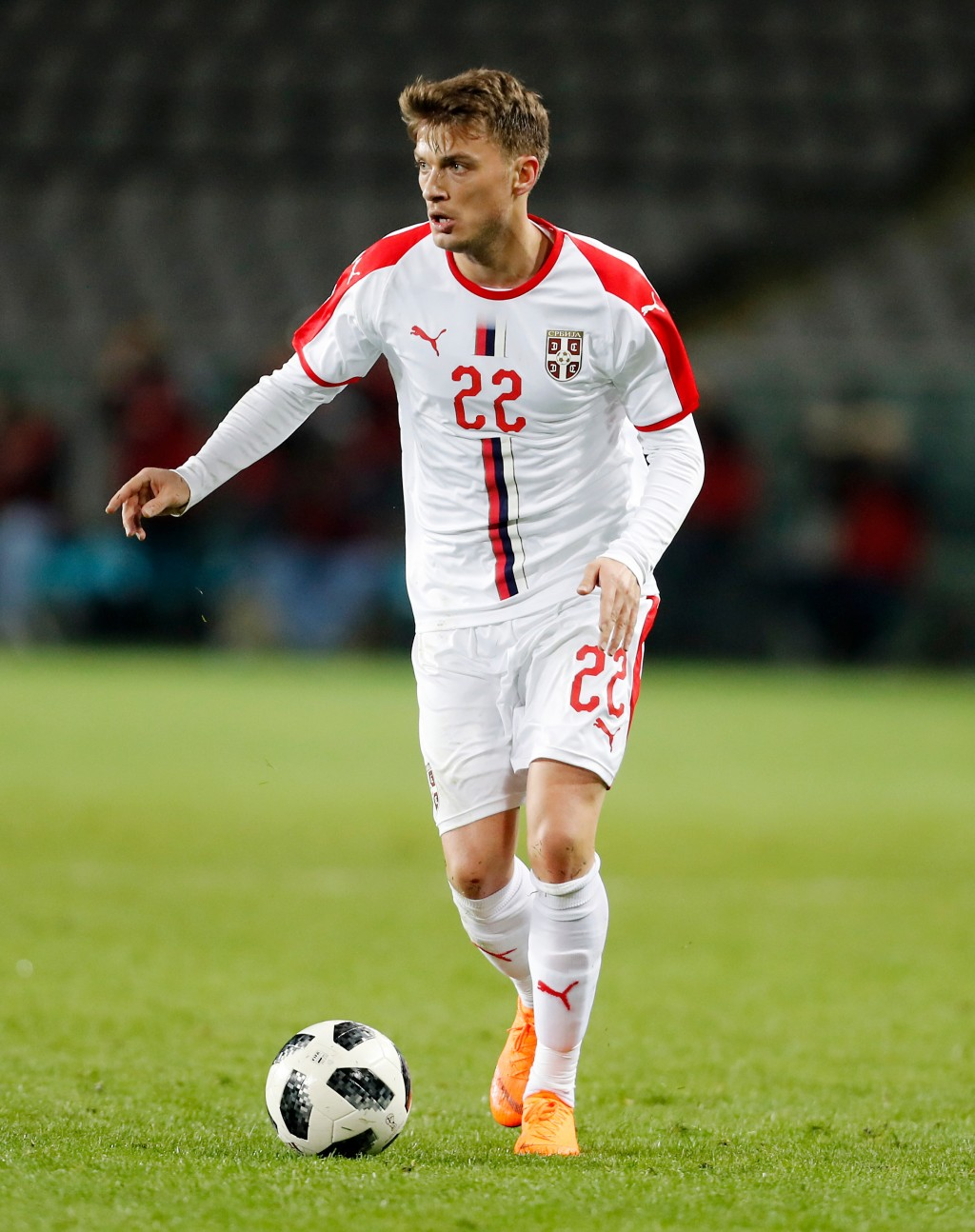 In this photo taken on Friday, March 23, 2018, Serbia's Adem Ljajic controls the ball during a friendly soccer match between Serbia and Morocco in Tur...