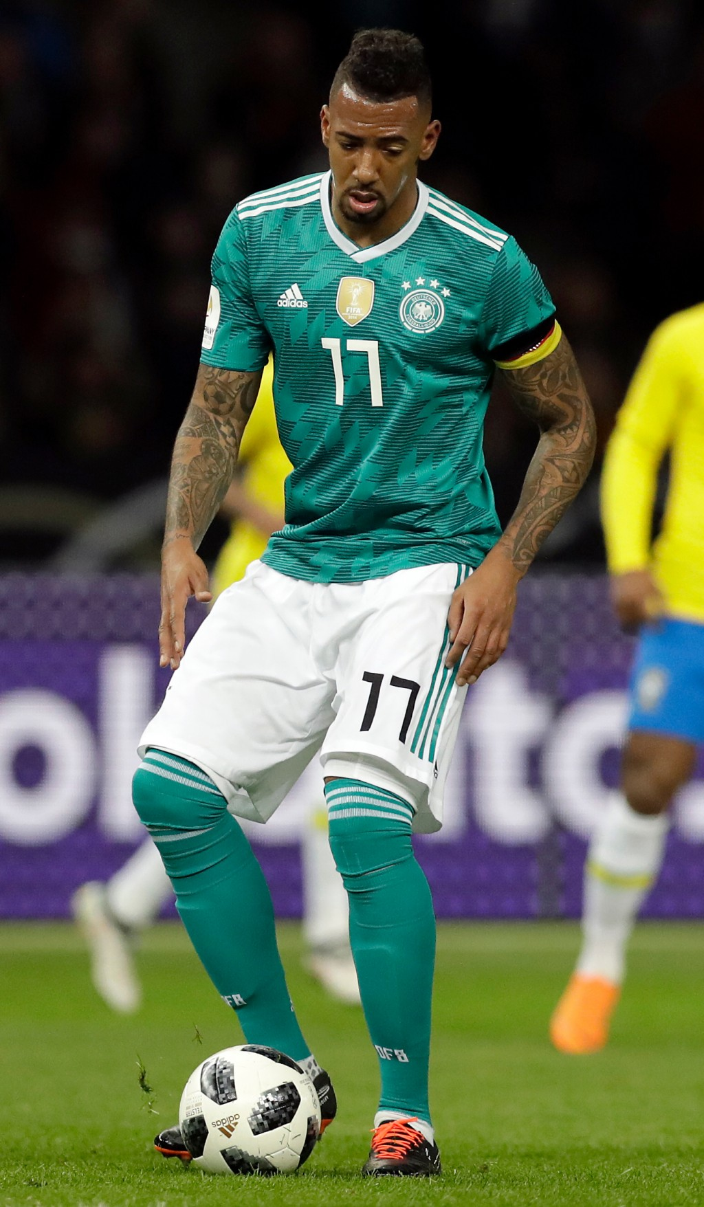In this photo taken on Tuesday, March 27, 2018, Germany's Jerome Boateng controls the ball during the international friendly soccer match between Germ...