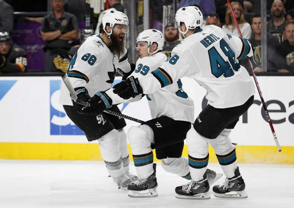 San Jose Sharks' Logan Couture (39) celebrates after scoring the game-winning goal against the Vegas Golden Knights during the second overtime of Game...