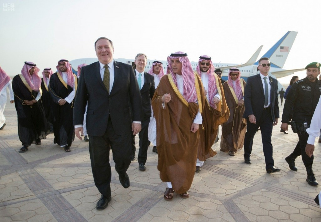 In this April 28, 2018 photo released by Saudi Press Agency, SPA, and made available April 29, 2018, U.S. Secretary of State Mike Pompeo, center left,...