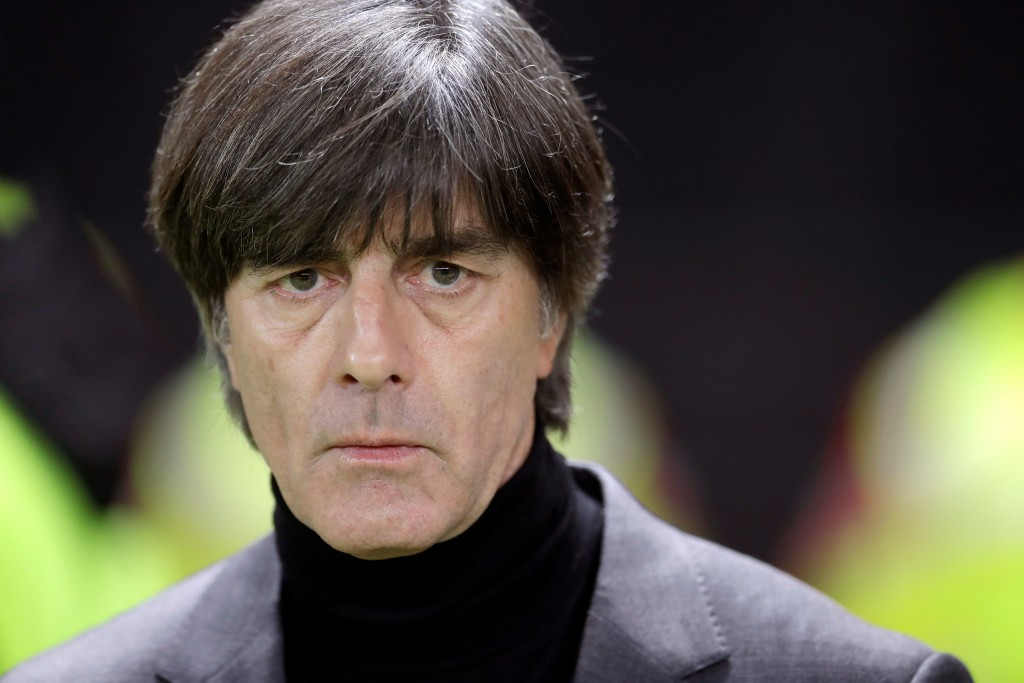 In this photo taken on Tuesday, March 27, 2018, German head coach Joachim Loew looks on prior to the international friendly soccer match between Germa...