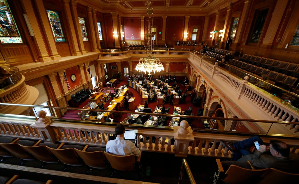 FILE--In this May 10, 2017, the Colorado Senate is shown during the body's closing session in Denver. Democrats buoyed by a wave of anti-Trump politic...