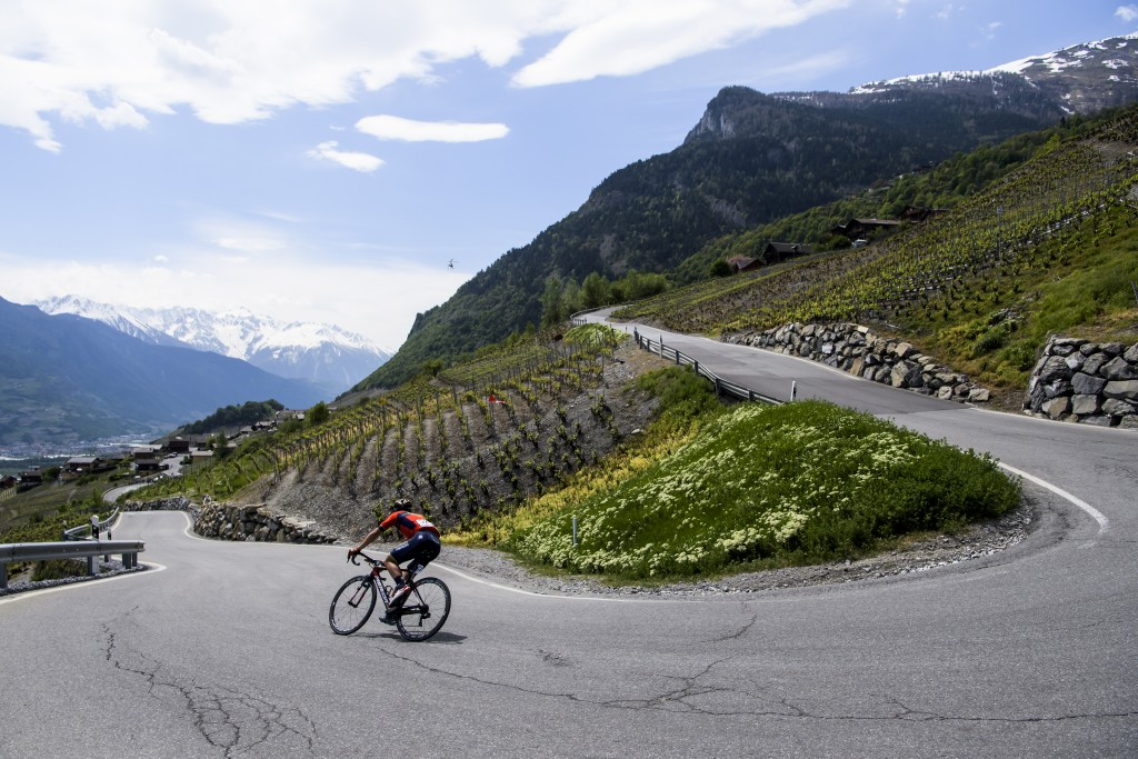 Sonny Colbrelli from Italy of team Bahrain-Merida in action during the fourth stage, a 149.2 km race between Sion and Sion during the 72nd Tour de Rom...