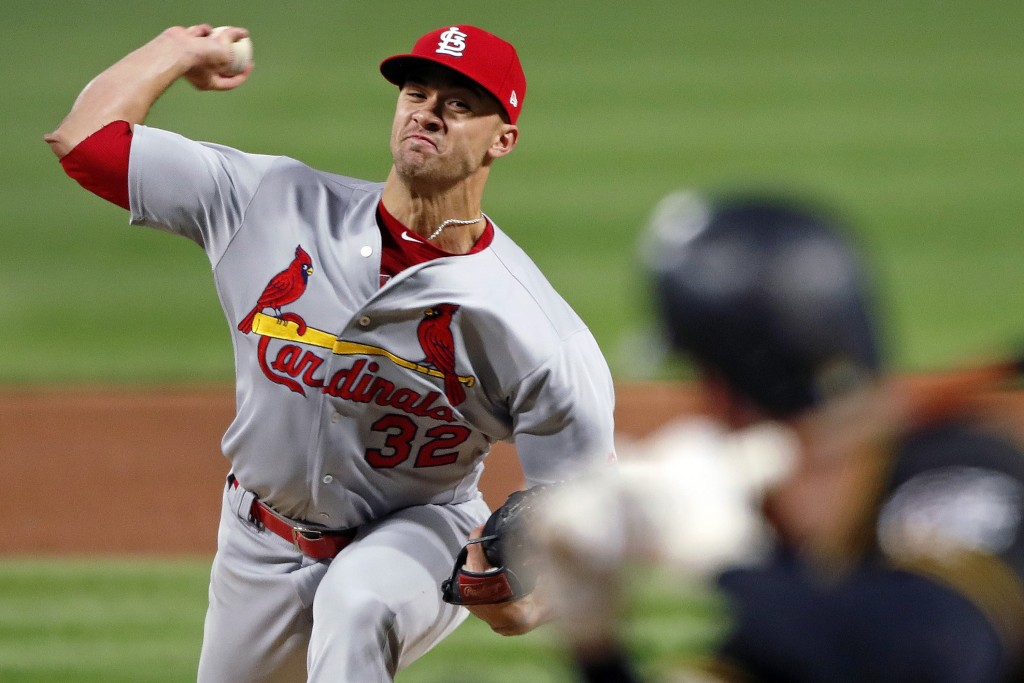 St. Louis Cardinals starting pitcher Jack Flaherty (32) delivers in the fifth inning of a baseball game against the Pittsburgh Pirates in Pittsburgh, ...