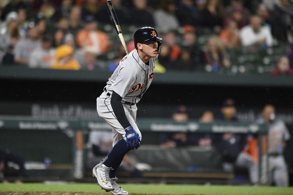Detroit Tigers' JaCoby Jones watches a double against the Baltimore Oriole during the third inning of baseball game Saturday, April 28, 2018, in Balti...