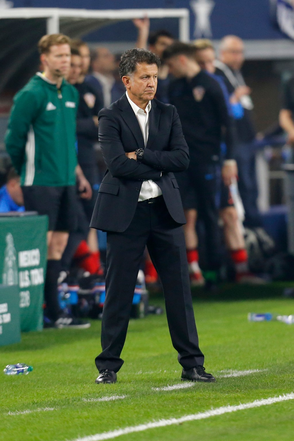 In this image taken on Tuesday, March 27, 2018 Mexico head coach Juan Carlos Osorio watches play during the second half of an international friendly s...