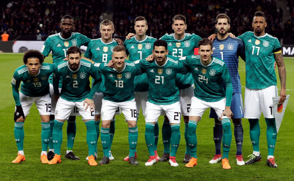 In this photo taken on Tuesday, March 27, 2018, German players pose prior to the international friendly soccer match between Germany and Brazil in Ber...