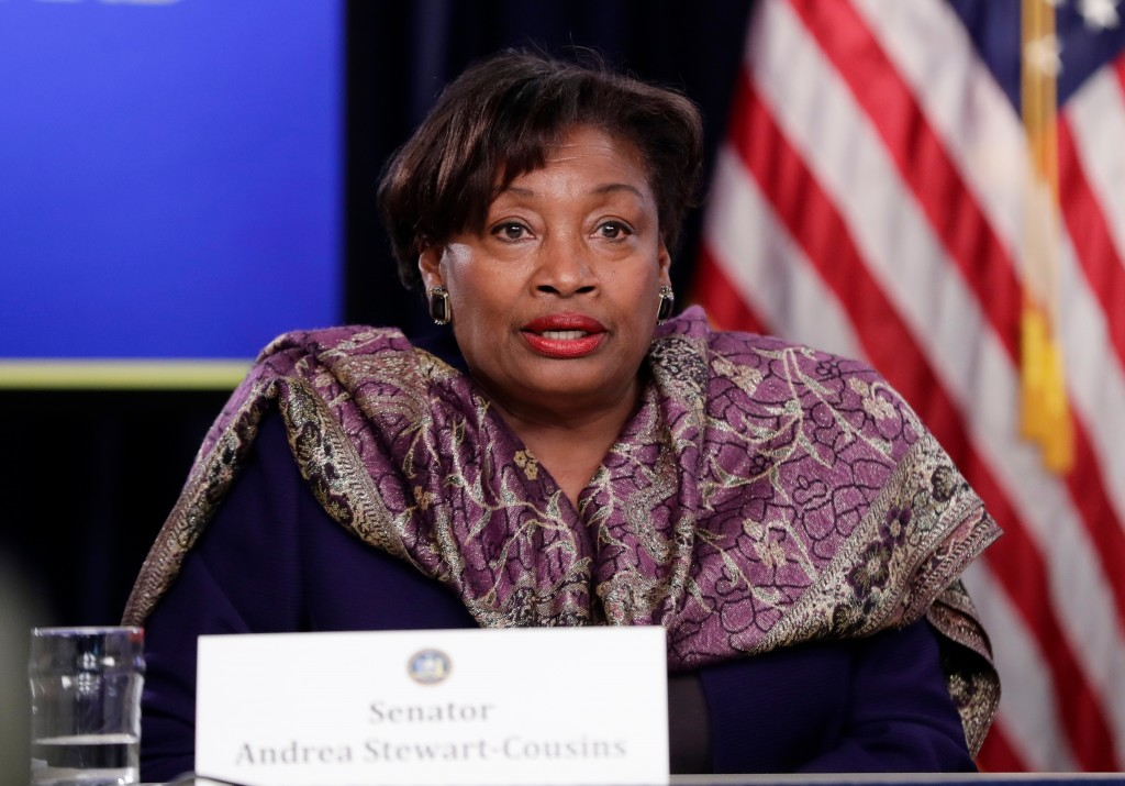 FILE--In this April 4, 2018, file photo, New York Senate Democratic Conference Leader Andrea Stewart-Cousins, D-Yonkers, speaks during a news conferen...