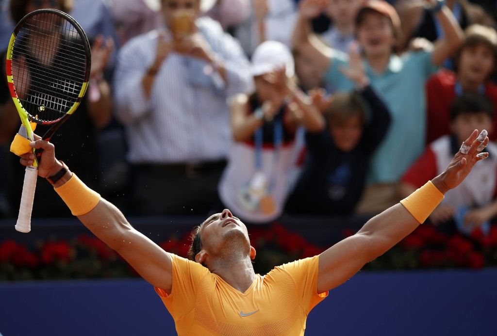Spain's Rafael Nadal celebrates winning his semifinal match against Belgium's David Goffin in two sets 6-4, 6-0, during the Barcelona Open Tennis Tour...
