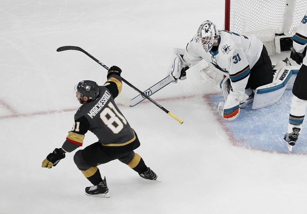 Vegas Golden Knights center Jonathan Marchessault (81) celebrates after a teammate scored against San Jose Sharks goaltender Martin Jones (31) during ...