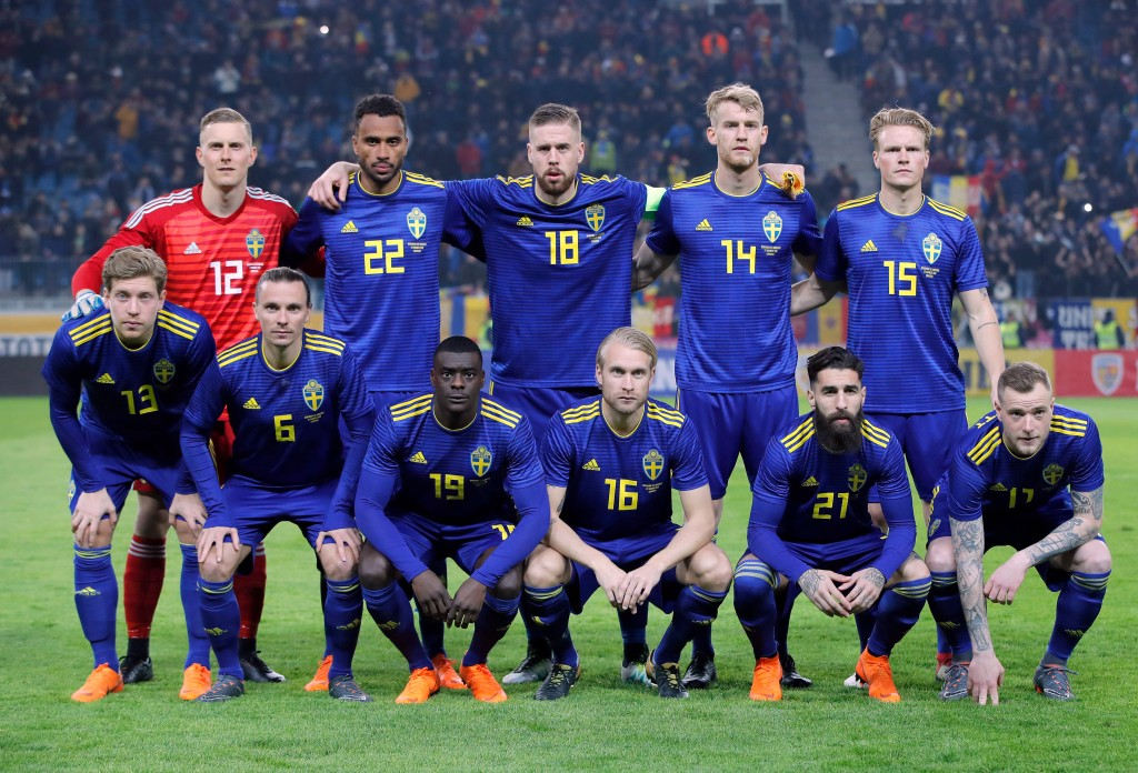 In this image taken on Tuesday, March 27, 2018 Sweden's national soccer team poses before an international friendly soccer match between Romania and S...