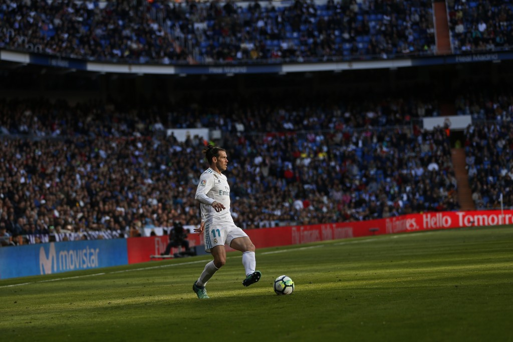 Real Madrid's Gareth Bale controls the ball during a Spanish La Liga soccer match between Real Madrid and Leganes at the Santiago Bernabeu stadium in ...
