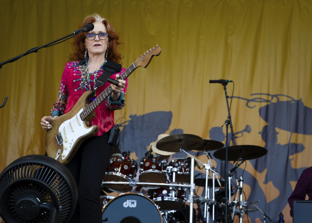 Bonnie Raitt performs at the Acura Stage during the 2018 New Orleans Jazz and Heritage Festival Saturday, April 28, 2018. (Scott Threlkeld /The Advoca...
