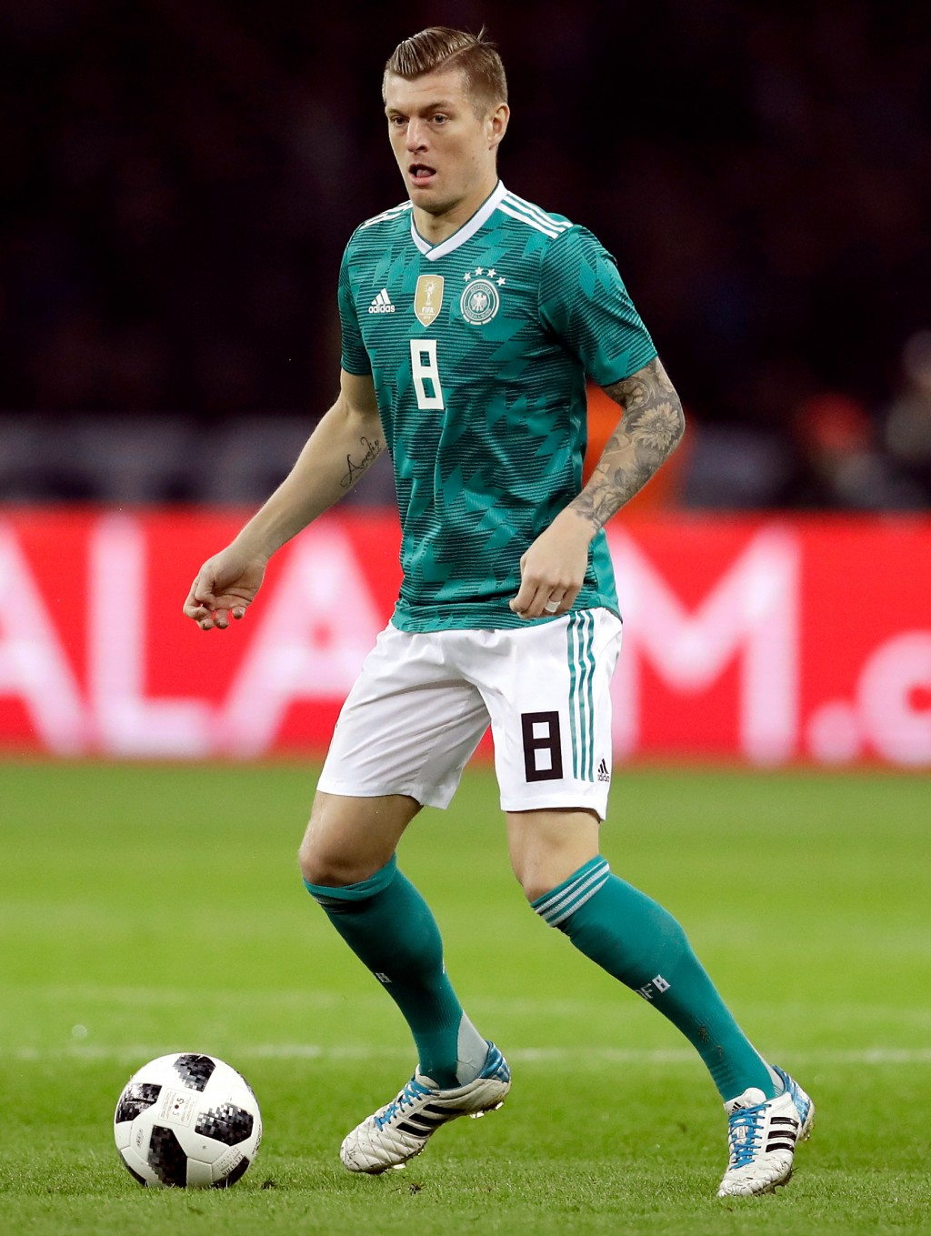 In this photo taken on Tuesday, March 27, 2018, Germany's Toni Kroos controls the ball during the international friendly soccer match between Germany ...