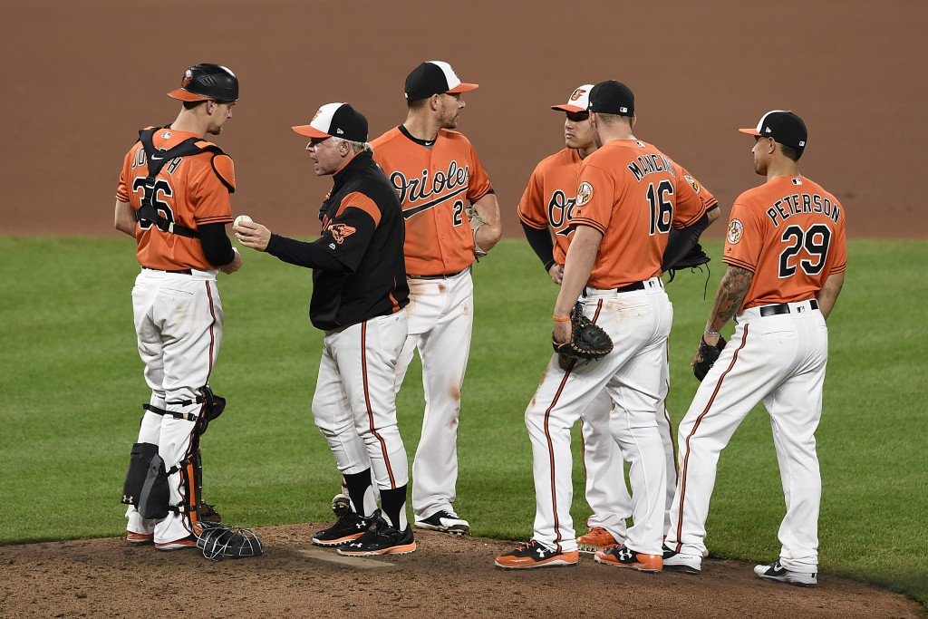 Baltimore Orioles manager Buck Showalter, second from left, talks with catcher Caleb Joseph, left, during a pitching change against the Detroit Tigers...