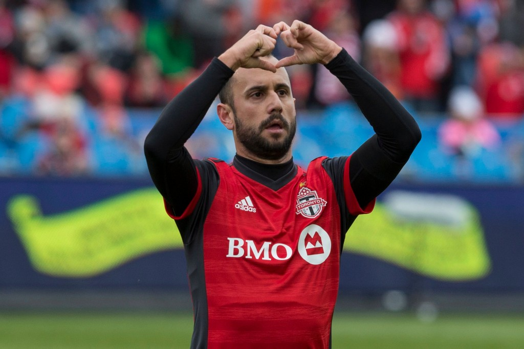 Toronto FC's Victor Vazquez celebrates scoring against the Chicago Fire during first half MLS soccer action in Toronto on Saturday, April 28, 2018. (C...