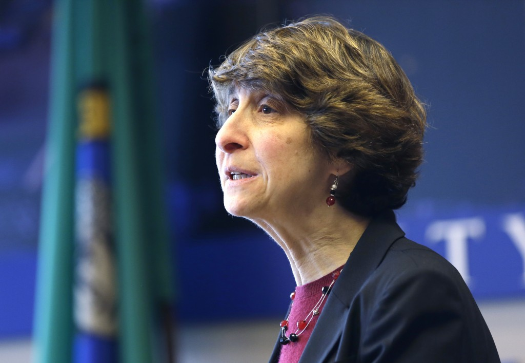 FILE - In this Feb. 4, 2014, file photo, Jocelyn Samuels speaks in Seattle. Military service, bathroom use, job bias and now health care. The Trump ad...