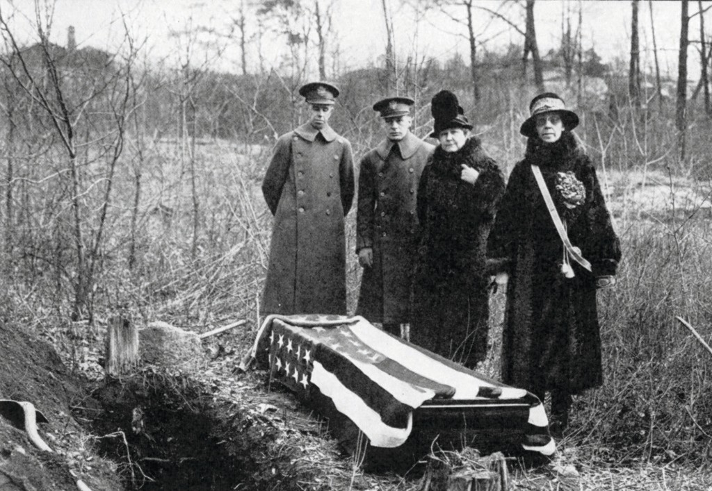 This 1926 photo provided by the Daughters of the American Revolution (DAR) shows a casket that was exhumed by the DAR on the estate of banker J.P. Mor...