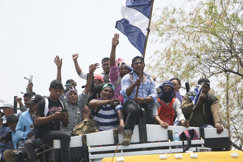 A caravan carrying peasants from Northern Nicaragua arrive into Managua to participate in a massive march called by the Catholic Church as a day of pr...