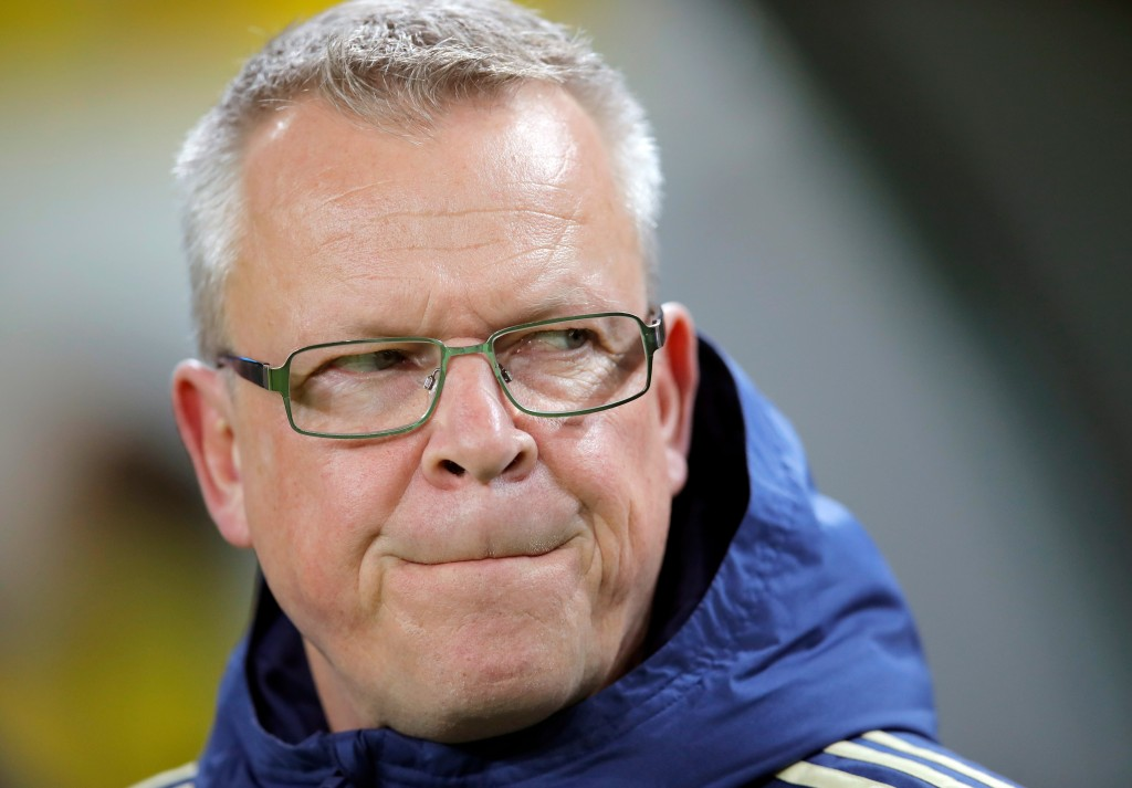 In this image taken on Tuesday, March 27, 2018 Sweden's head coach Janne Andersson grimaces before an international friendly soccer match between Roma...