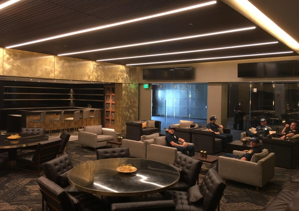 In this Thursday, April 26, 2018, photo shows a suite in the Club level at Banc of California Stadium for its official opening Sunday, April 29, and t...