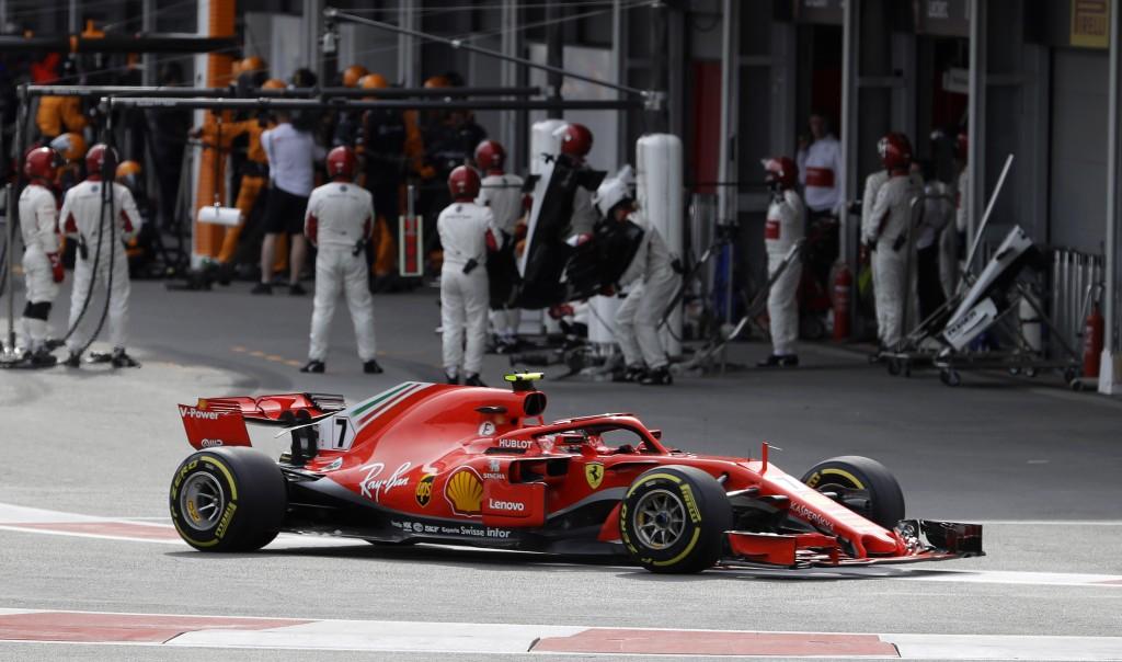Ferrari driver Kimi Raikkonen, of Finland, leaves the pits during the Azerbaijan Formula One Grand Prix, at the city circuit, in Baku, Azerbaijan, Sun...