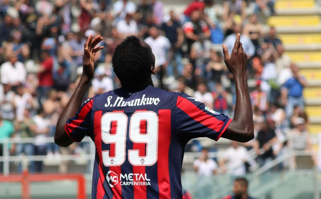 Crotone's Simy celebrates after scoring during a Serie A soccer match between Crotone and Sassuolo at the Ezio Scida stadium in Crotone, Italy, Sunday...