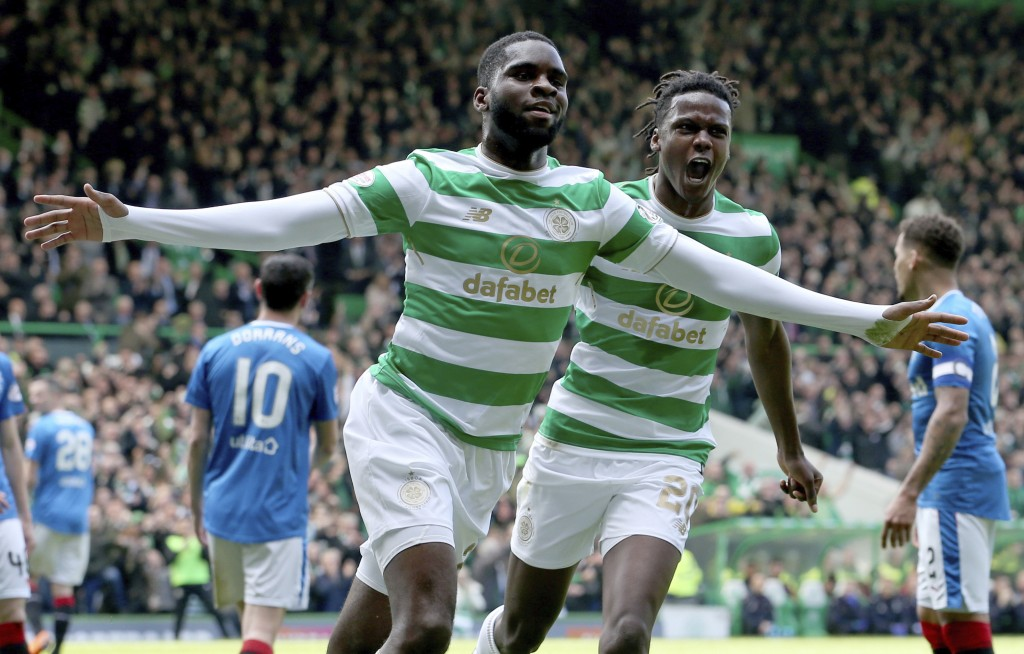 Celtic's Odsonne Edouard celebrates scoring his side's first goal during the Scottish Premiership soccer match between Celtic and Rangers at Celtic Pa...