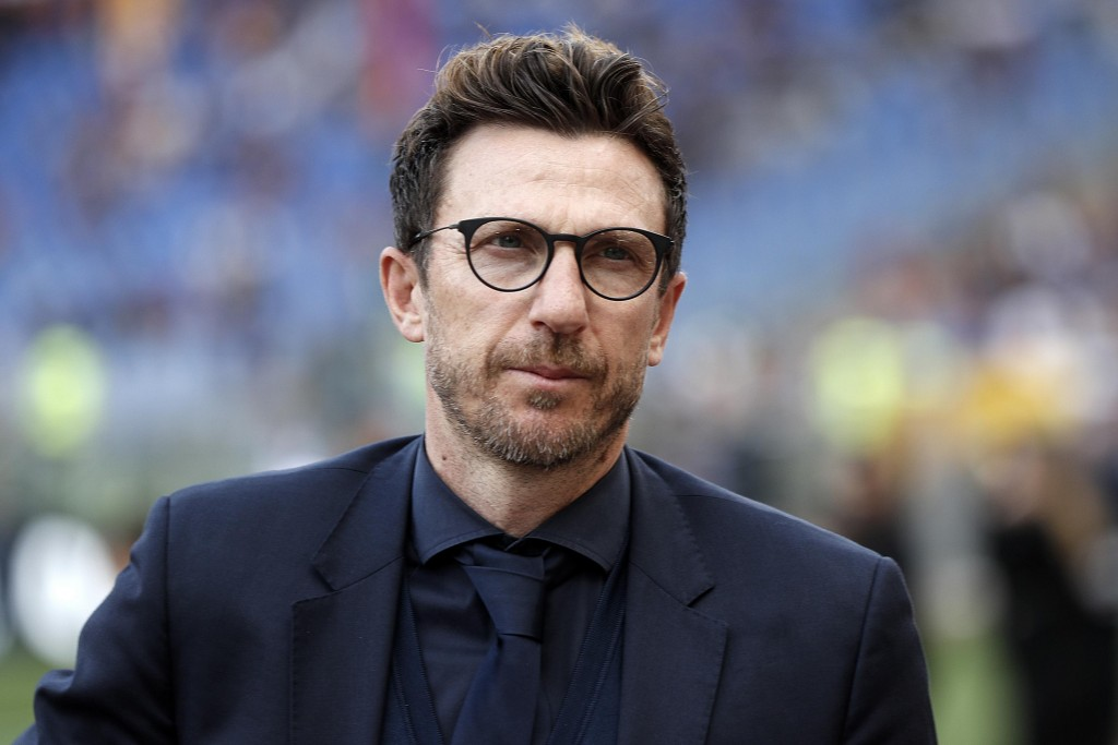 Roma coach Eusebio Di Francesco walks on the pitch prior to the Serie A soccer match between Roma and Chievo Verona, at the Rome Olympic Stadium, Satu...