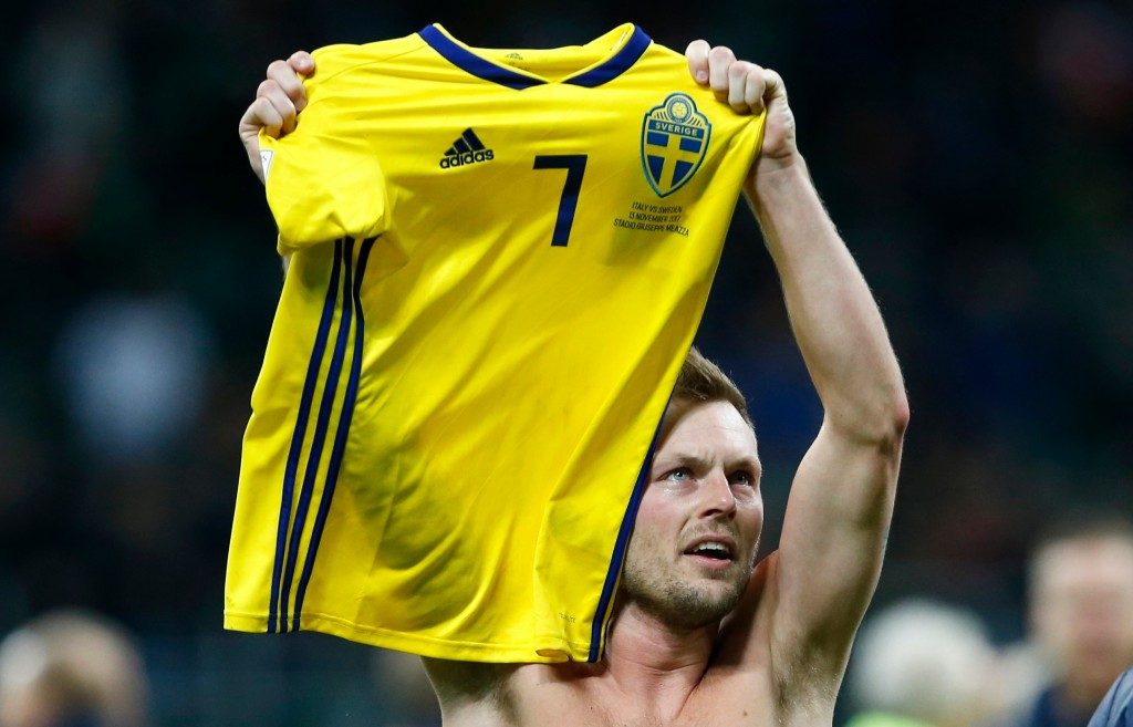 In this image taken on Monday, Nov. 13, 2017 Sweden's Sebastian Larsson celebrates at the end of the World Cup qualifying play-off second leg soccer m...