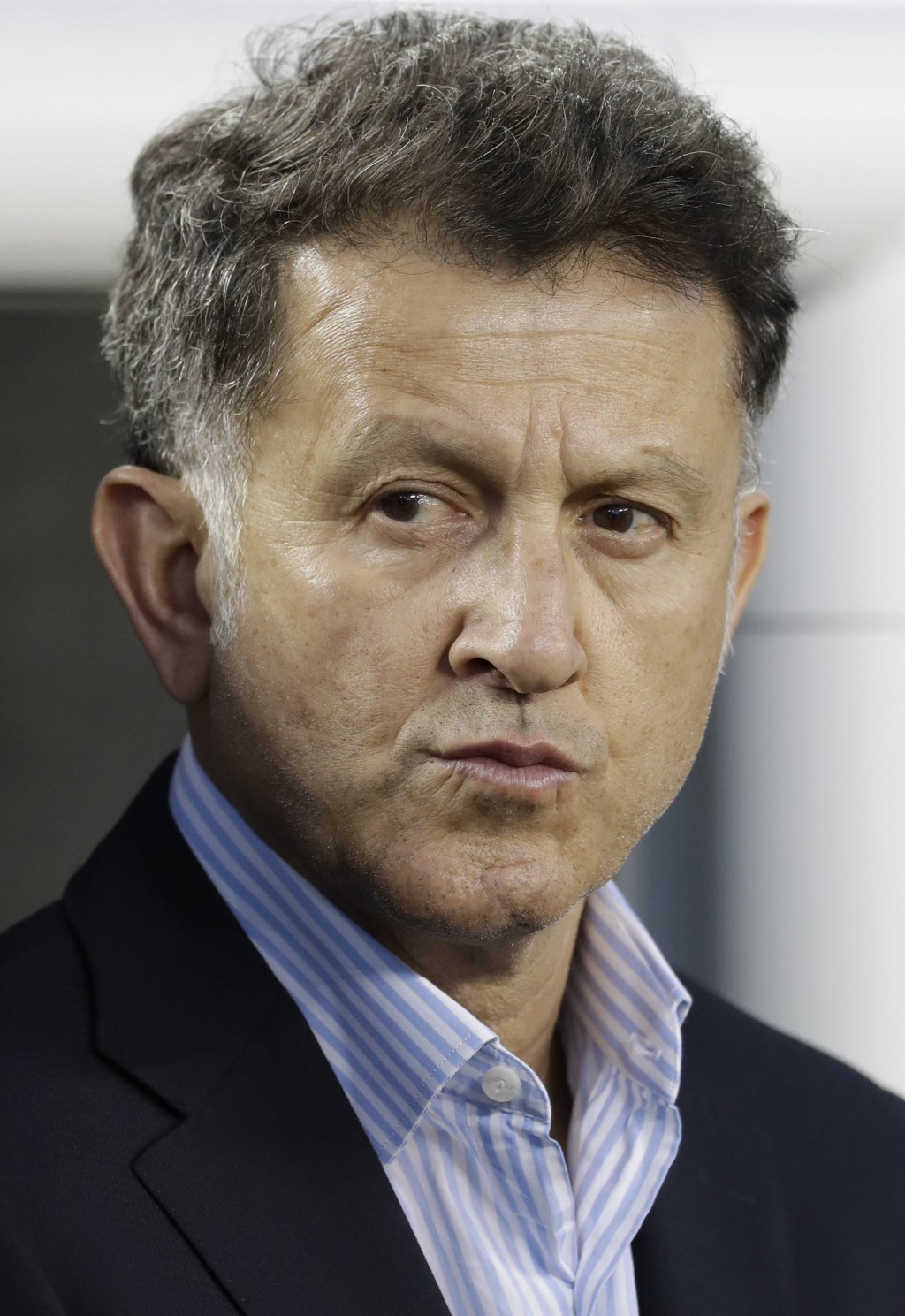 In this image taken on Friday, March 23, 2018 Mexico manager Juan Carlos Osorio during an international friendly soccer match against Iceland Friday, ...