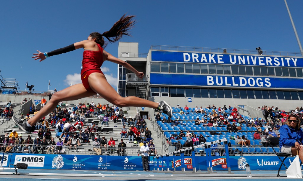 Iowa State's Jhoanmy Luque leaps to the pit during the women's triple jump at the Drake Relays athletics meet, Saturday, April 28, 2018, in Des Moines...