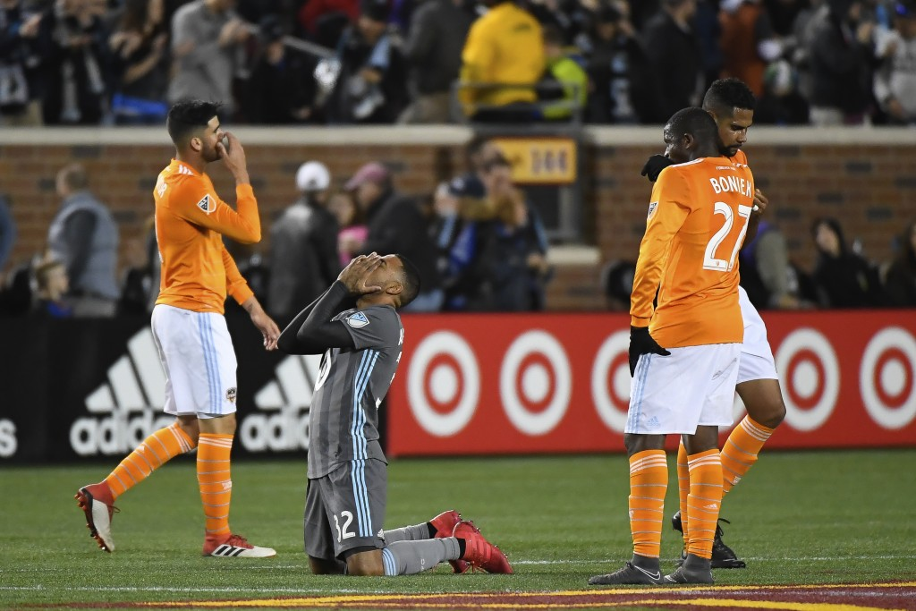 Minnesota United midfielder Alexi Gomez (32) reacts after his team's victory over the Houston Dynamo in an MLS soccer game Saturday, April 28, 2018, i...
