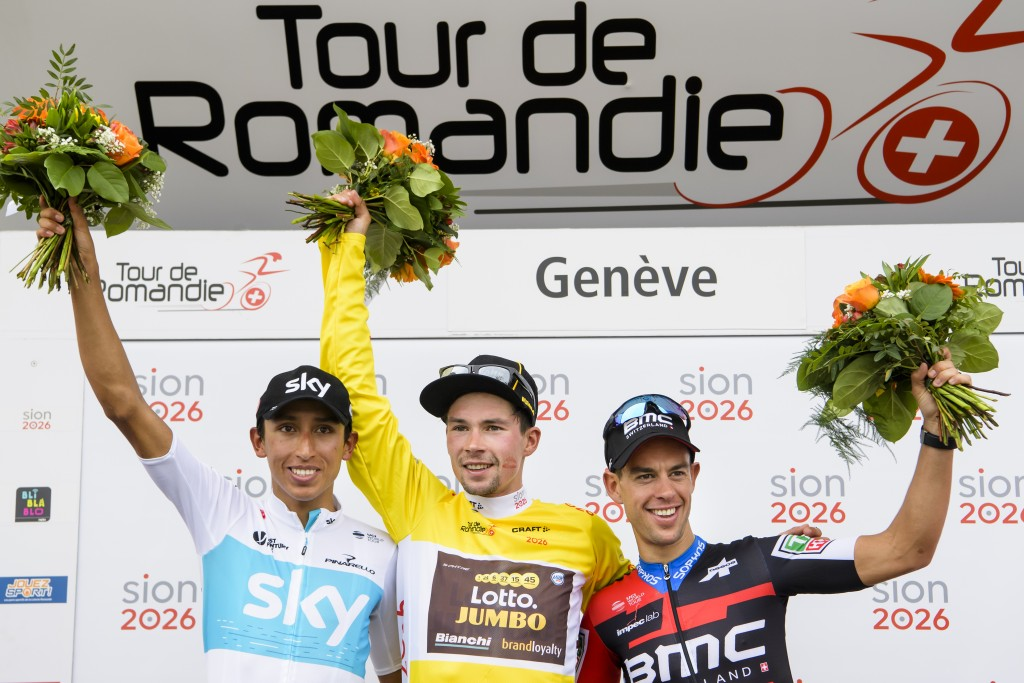 The podium of the 72th Tour de Romandie with second placed, Egan Arley Bernal Gomez from Colombia of team Sky, left, the winner Primoz Roglic from Slo...