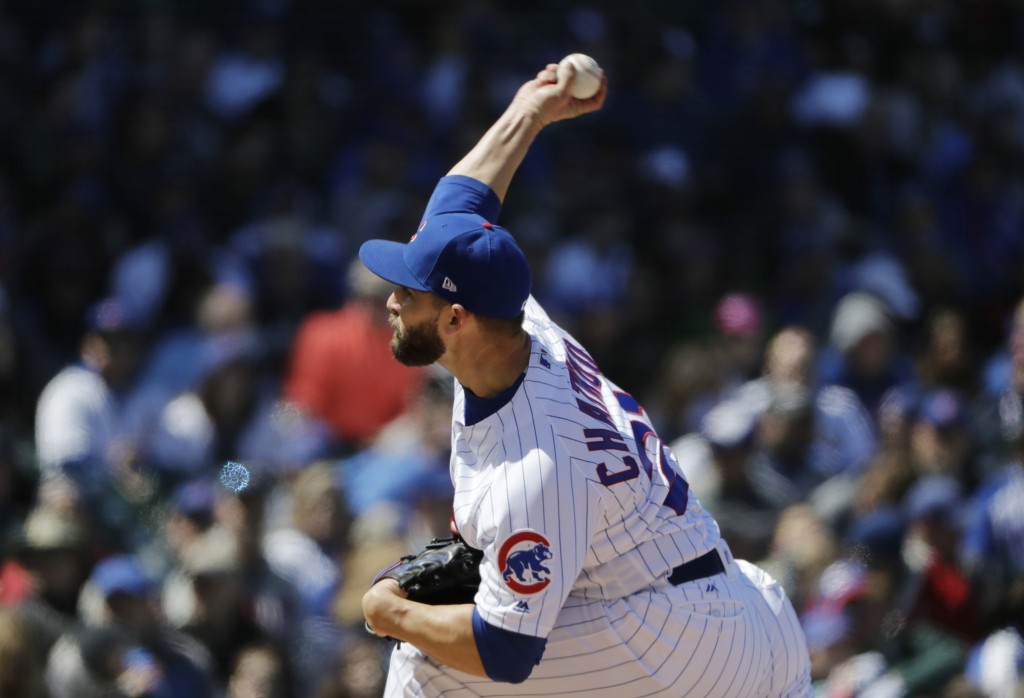 Chicago Cubs starting pitcher Tyler Chatwood throws against the Milwaukee Brewers during the third inning of a baseball game Sunday, April 29, 2018, i...