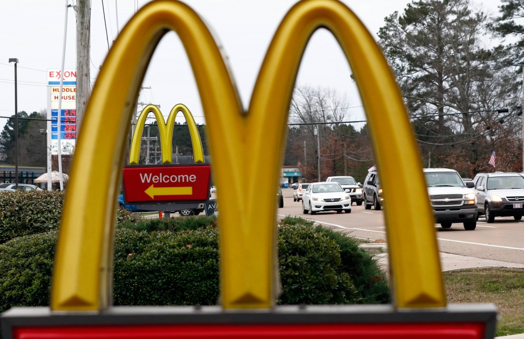 FILE- This Feb. 15, 2018, file photo shows a McDonald's Restaurant in Brandon, Miss. McDonald's Corp. reports earnings Monday, April 30. (AP Photo/Rog...