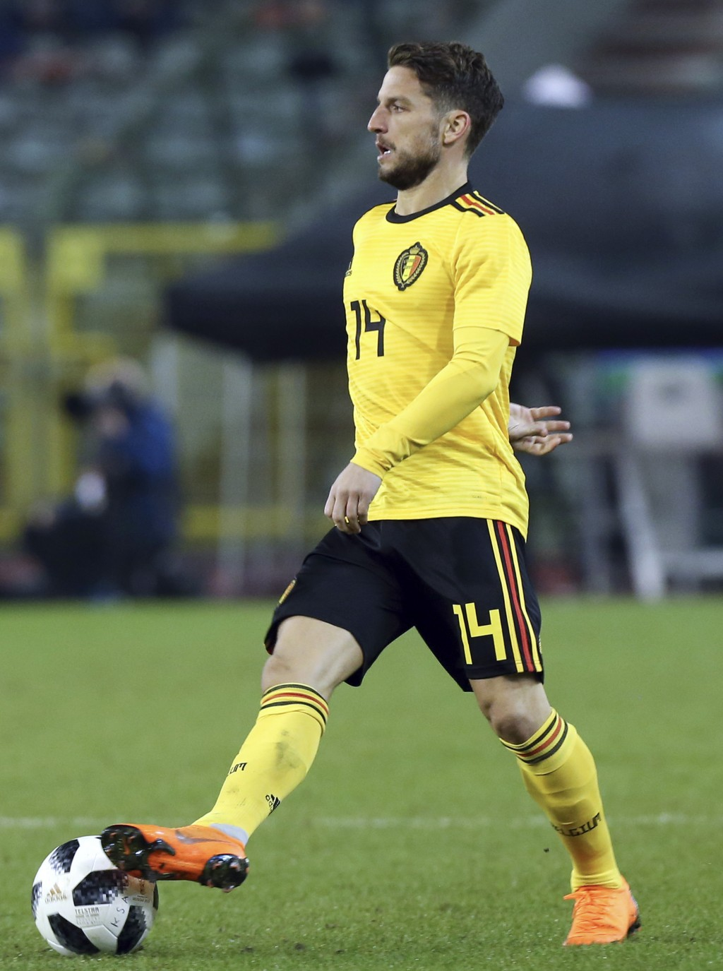 In this photo taken on Tuesday, March 27, 2018, Belgium's Dries Mertens controls the ball during a friendly soccer match between Belgium and Saudi Ara...