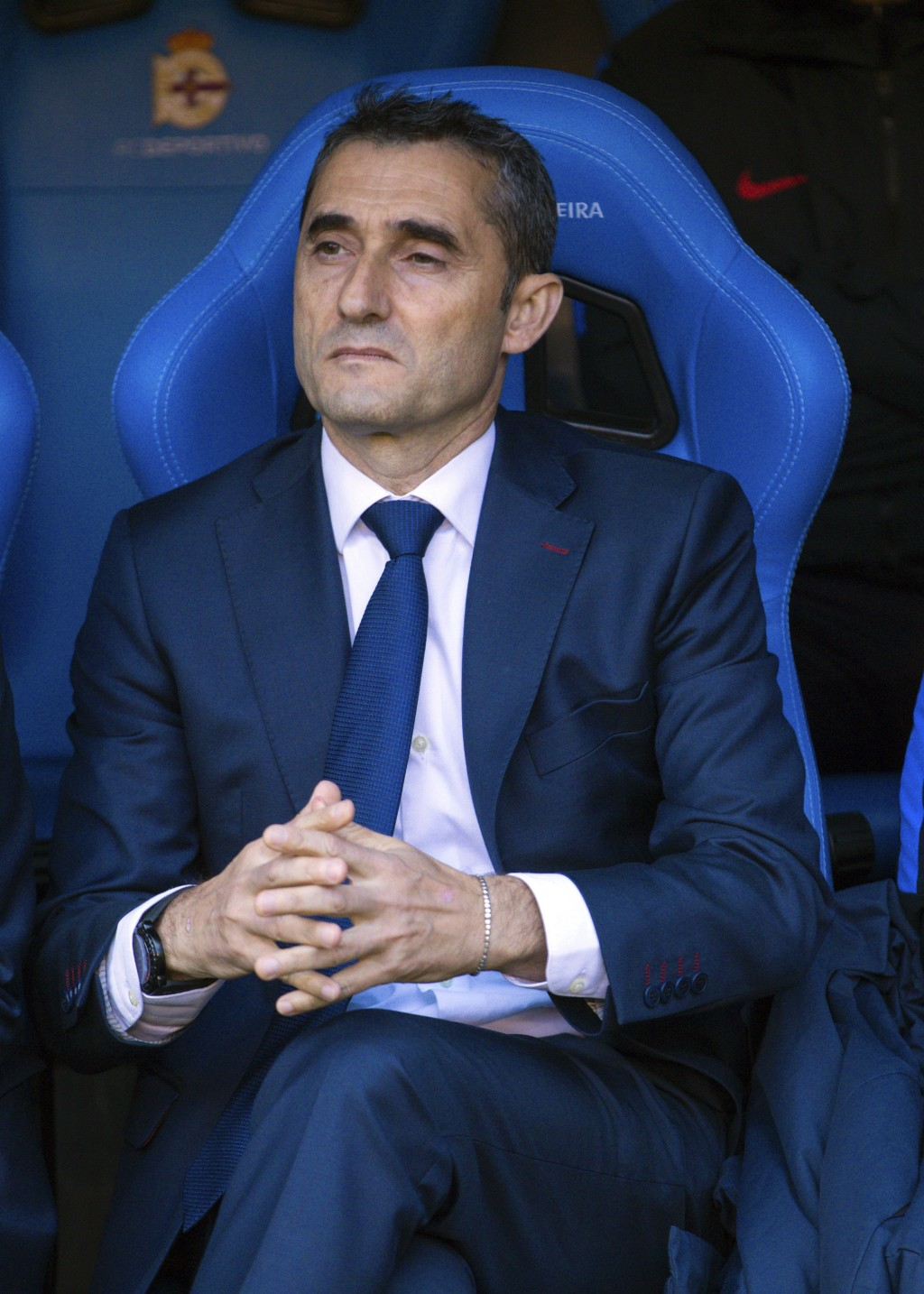 Barcelona's head coach Ernesto Valverde appears during a Spanish La Liga soccer match between Deportivo and Barcelona at the Riazor stadium in A Corun...