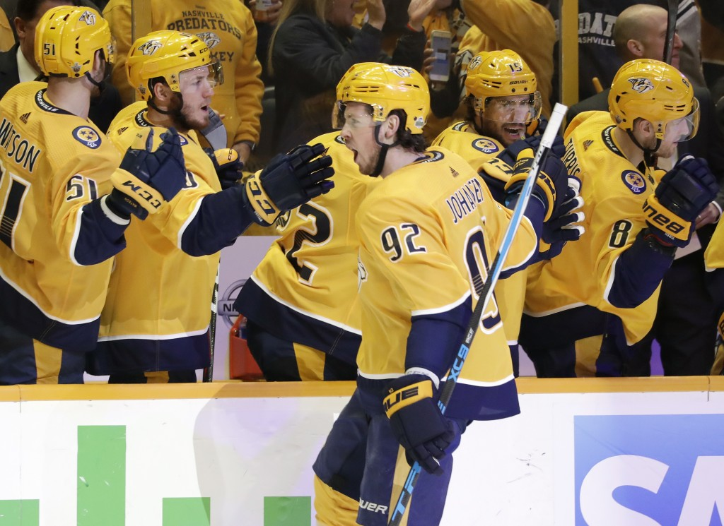 Nashville Predators center Ryan Johansen (92) is congratulated after scoring a goal against the Winnipeg Jets during the first period in Game 2 of an ...
