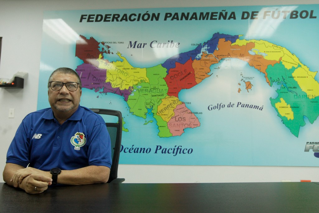 FILE - In this Friday, April, 13, 2018 filer, Panama's national soccer team head coach Hernan Dario Gomez talks during an interview with The Associate...
