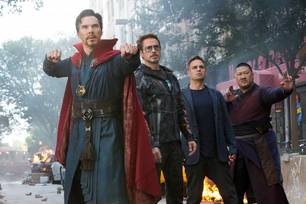 """This image released by Marvel Studios shows, from left, Benedict Cumberbatch, Robert Downey Jr., Mark Ruffalo and Benedict Wong in a scene from """"Aveng..."""