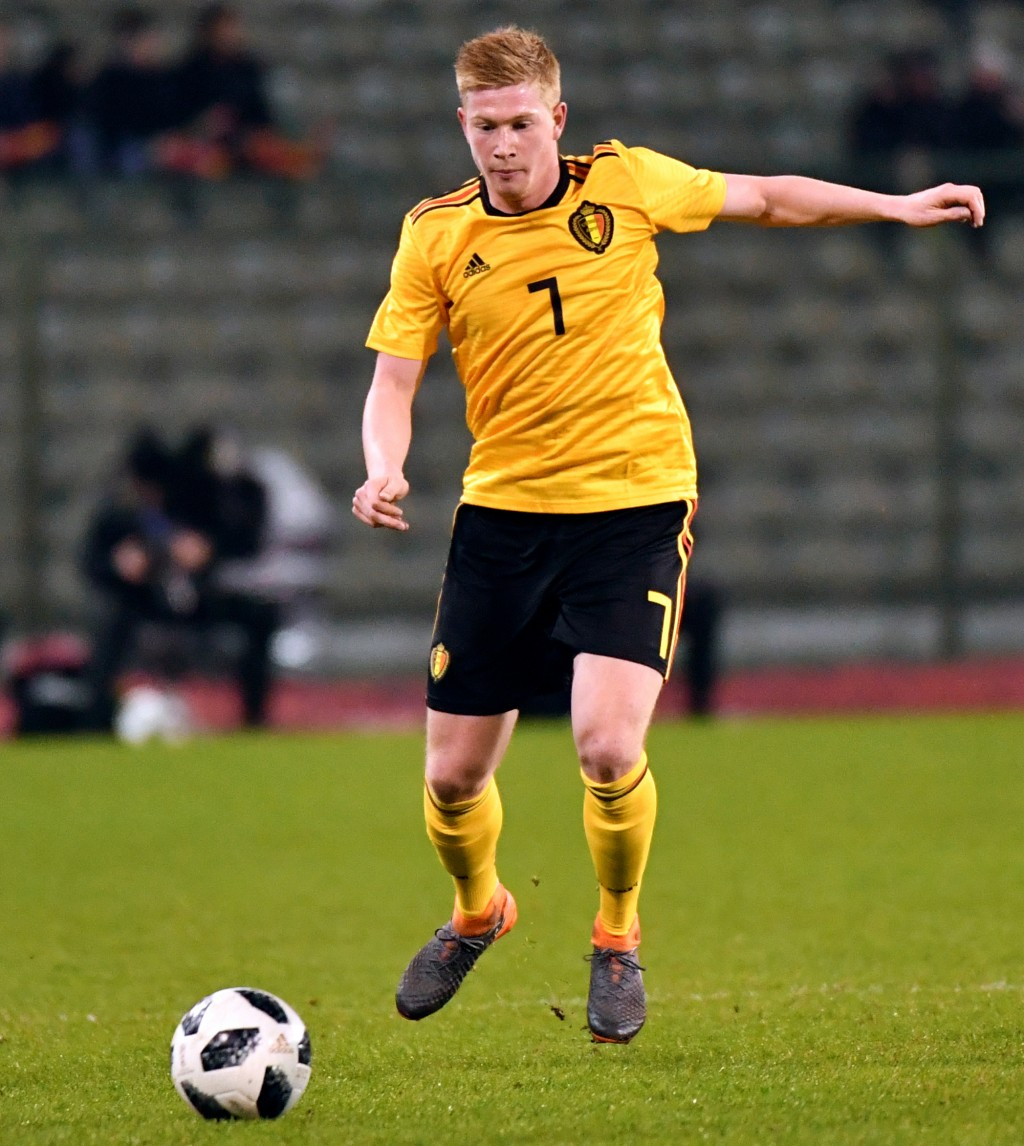 FILE - In this Tuesday, March 27, 2018 filer, Belgium's Kevin De Bruyne in action during an international friendly soccer match between Belgium and Sa...