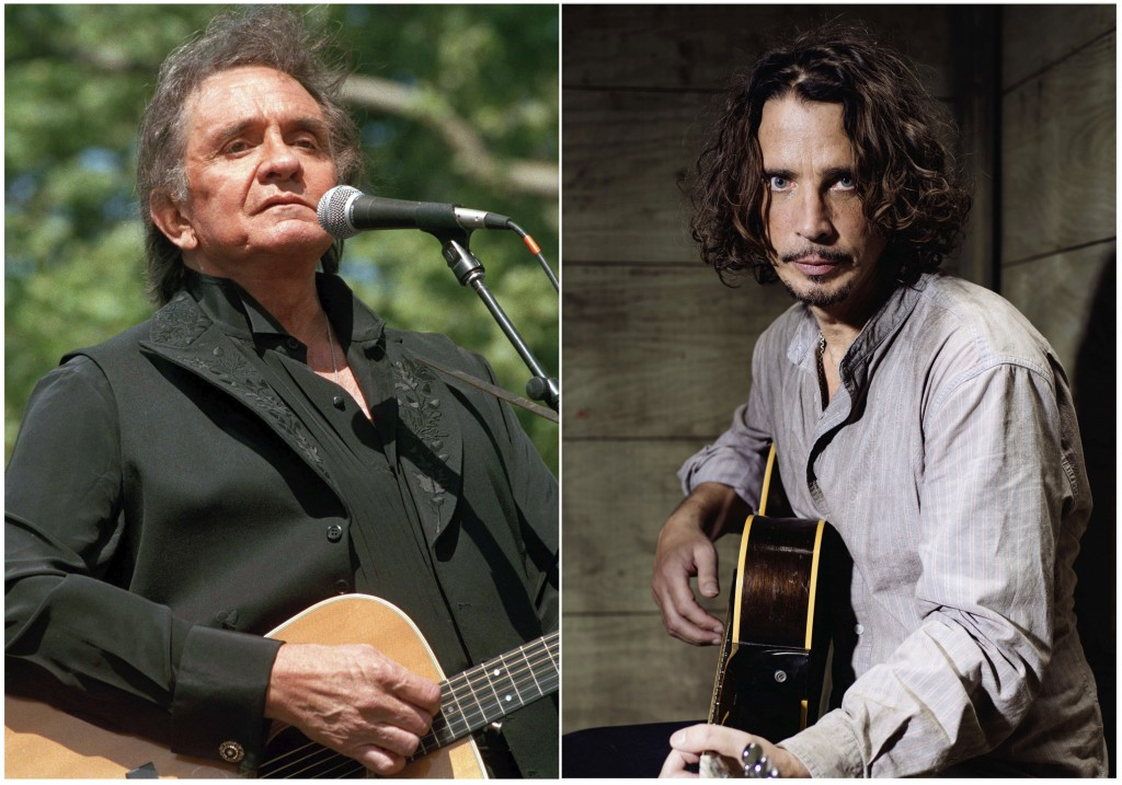 In this combination photo, Johnny Cash performs at a benefit concert in Central Park in New York on May 23, 1993, left, and Chris Cornell plays guitar...