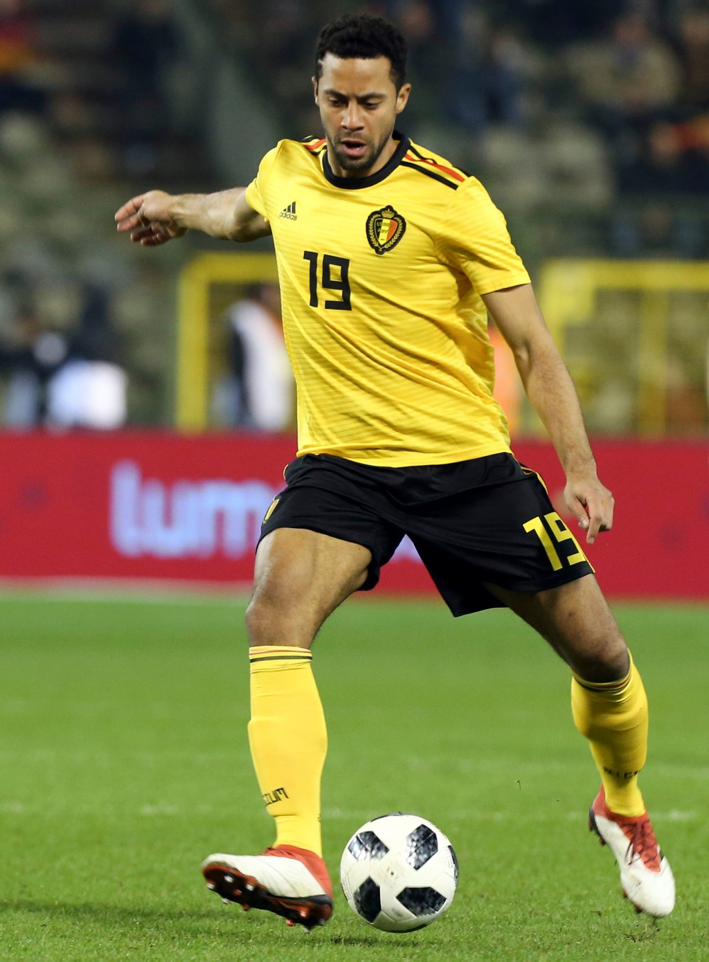 In this photo taken on Tuesday, March 27, 2018, Belgium's Mousa Dembele kicks the ball during a friendly soccer match between Belgium and Saudi Arabia...