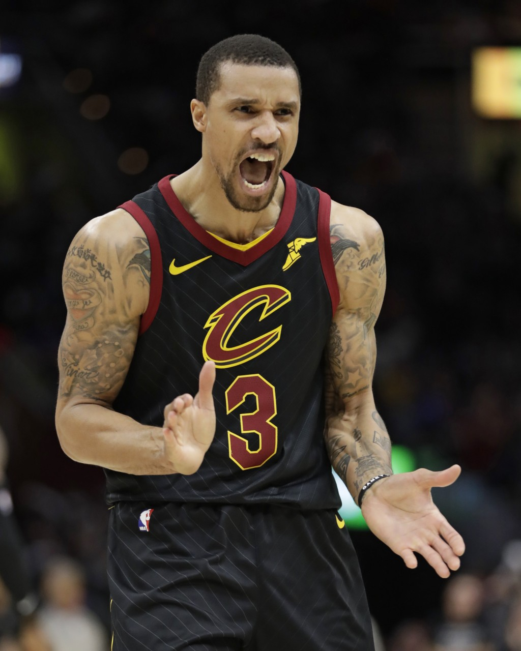 Cleveland Cavaliers' George Hill reacts in the second half of Game 7 of an NBA basketball first-round playoff series against the Indiana Pacers, Sunda...