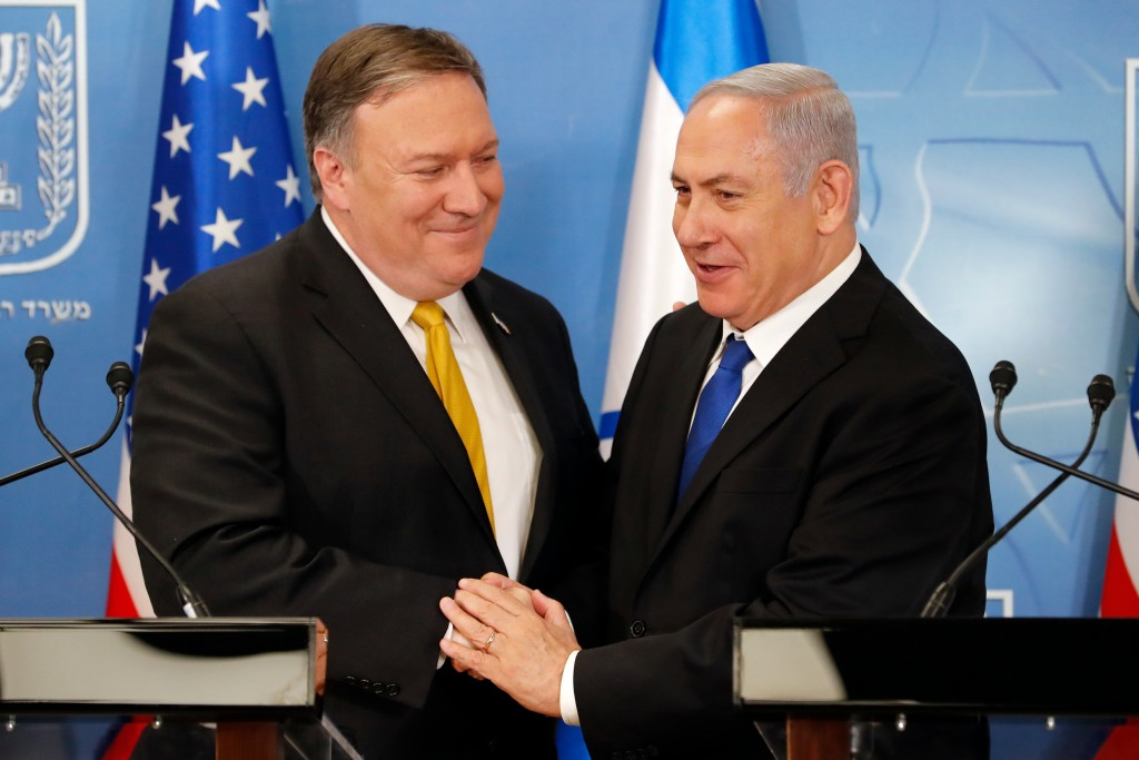 In this Sunday, April 29, 2018 file photo, U.S. Secretary of State Mike Pompeo. left. is greeted by Israeli Prime Minister Benjamin Netanyahu ahead of...