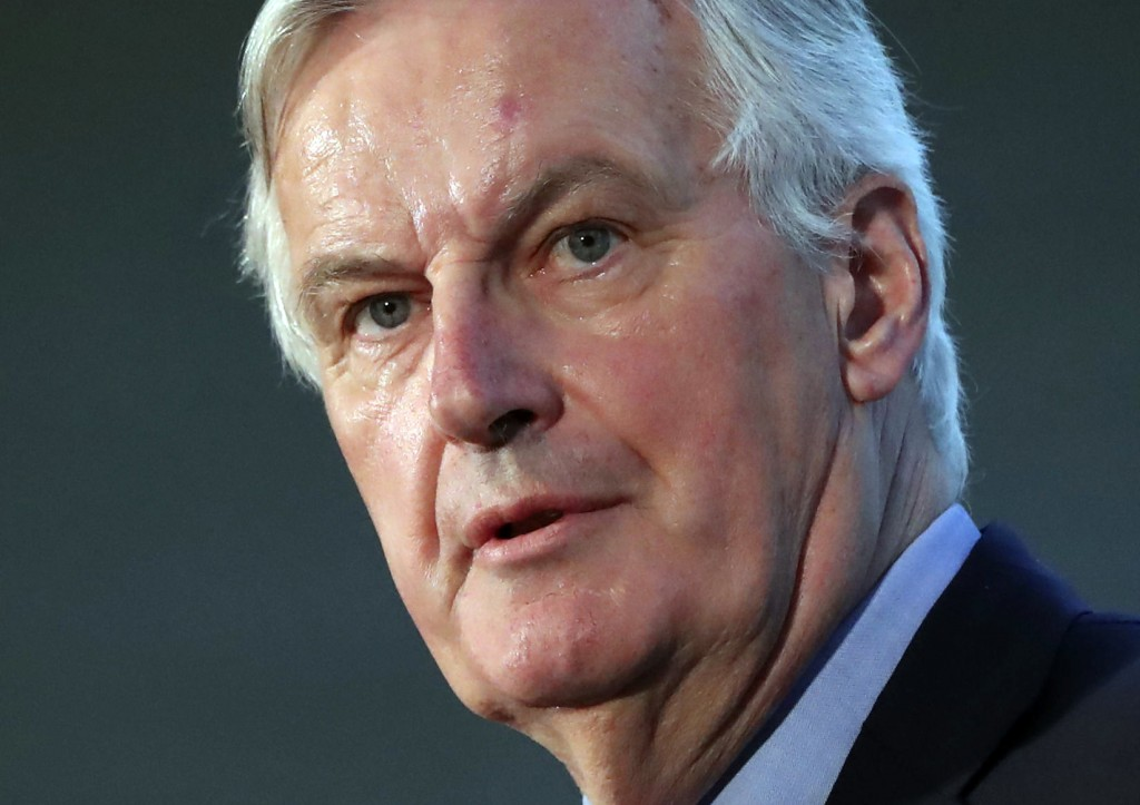 EU's chief Brexit negotiator Michel Barnier faces the media during the All-Ireland Civic Dialogue conference on Brexit, in Dundalk, Ireland, Monday Ap...