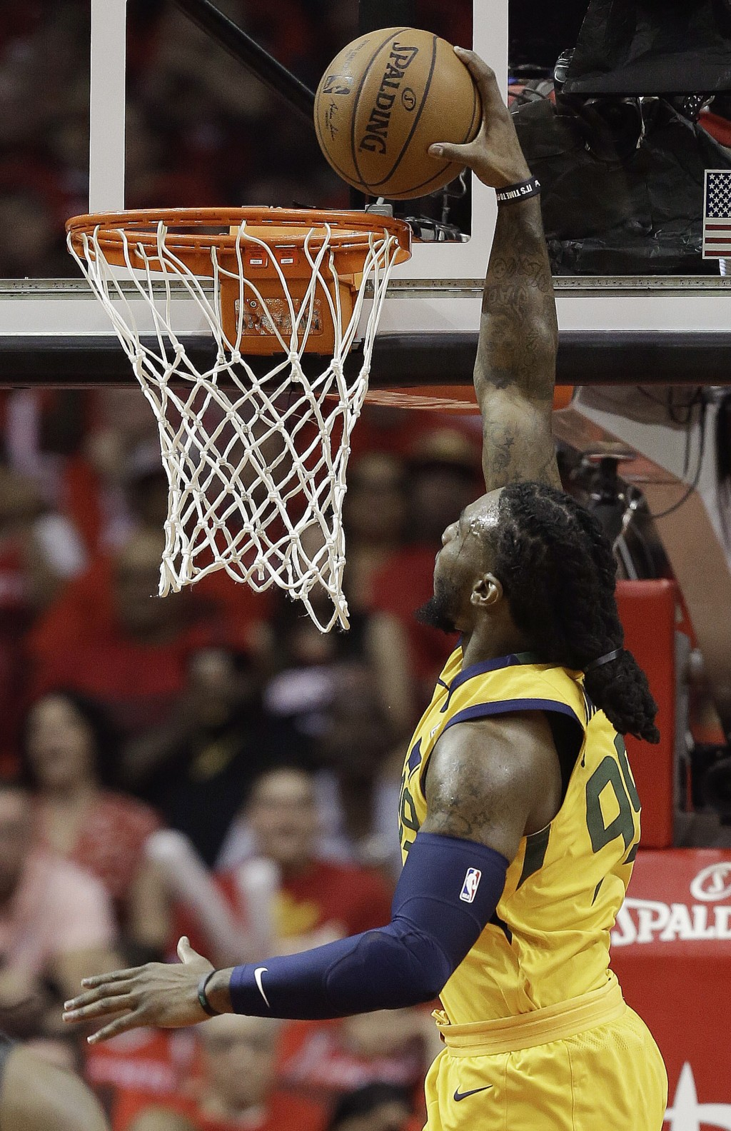 Utah Jazz forward Jae Crowder dunks during the first half in Game 1 of an NBA basketball second-round playoff series against the Houston Rockets, Sund...